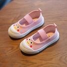 新款幼兒園室內鞋女童軟底寶寶帆布鞋1-7歲男童一腳蹬兒童小白鞋