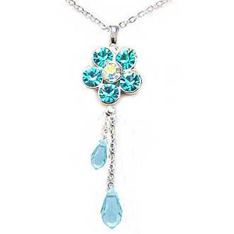 土耳其藍水鑽花與 Swaroski角度水滴長項鍊