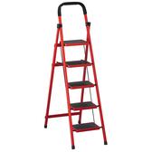 【森可家居】烤漆五層步梯(紅/黑) 8SB387-8 鋁梯