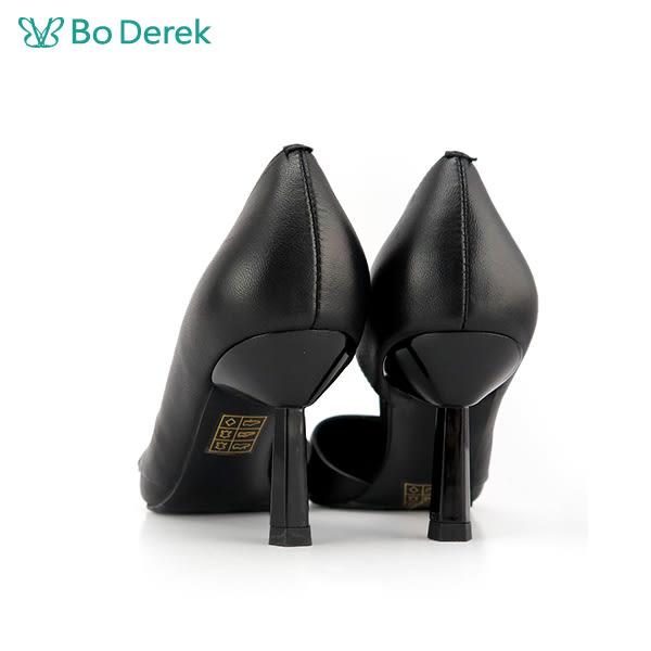 BO DEREK 荷葉花邊側空尖頭高跟鞋-黑色