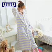 秋冬季日系加厚珊瑚絨睡袍可愛長款法蘭絨浴袍長袖家居服睡衣 一條街