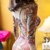 【雙十二】預熱性感絲襪女連體印花假紋身內衣修身長袖連身襪肉色開檔免脫緊身襪 巴黎街頭