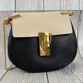 BRAND楓月 CHLOE DREW 黑白 雙色 皮革 拼接 金扣 金鍊 側背包 斜背包