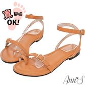 Ann'S散步夕陽下-極簡層次細帶平底涼鞋-棕