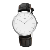 Daniel Wellington York風潮時尚皮帶男錶-銀框x咖啡