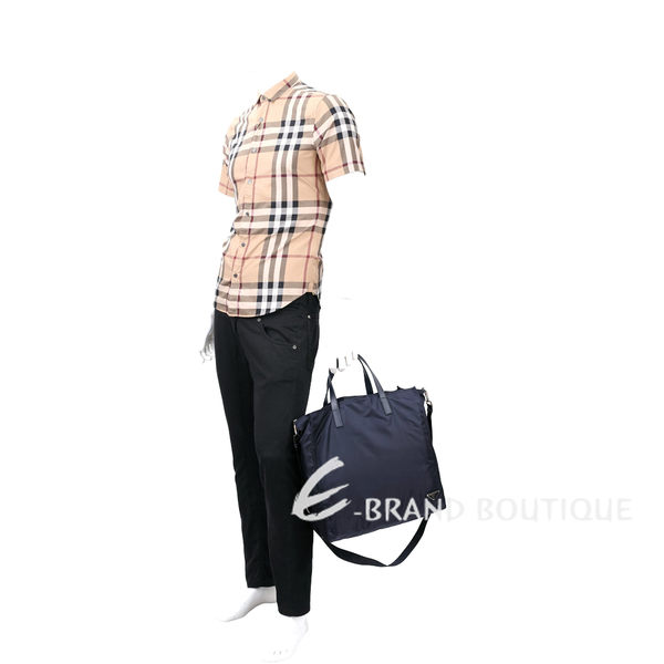 PRADA 三角鐵牌直立式尼龍兩用包(深藍色) 1620081-34