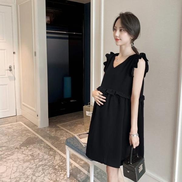 漂亮小媽咪 小香風荷葉洋裝【D8131】 韓系 無袖 純色 飛袖 V領 孕婦裝 洋裝 實拍