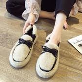 豆豆鞋女冬外穿冬季羊羔毛百搭加絨平底鞋子【繁星小鎮】