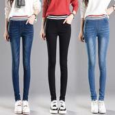 夏季新款鬆緊高腰牛仔長褲大碼黑色小腳鉛筆褲 QQ220『優童屋』