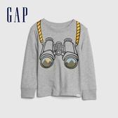 Gap男幼童 創意風格印花圓領長袖T恤 617814-淺灰色