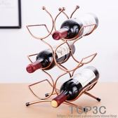 鐵藝酒架鐵藝紅酒架擺件6瓶葡萄酒櫃歐式創意酒瓶架多瓶疊加酒架igo「Top3c」