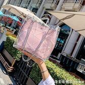 夏季小包包女2018新款百搭韓版水桶簡約手提子母包透明果凍斜挎包 漾美眉韓衣