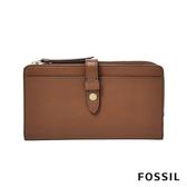 FOSSIL FIONA 咖啡色金釦設計多功能零錢長夾 SL7704200
