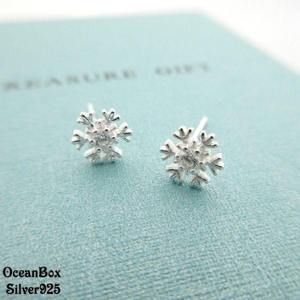 ☆§海洋盒子§☆璀璨耀眼雪花鋯石耳針式純銀耳環 《925純銀》
