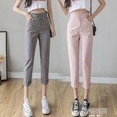 亞麻褲 棉麻褲子女寬鬆夏季2021新款高腰亞麻直筒九分薄款顯瘦百搭休閒褲