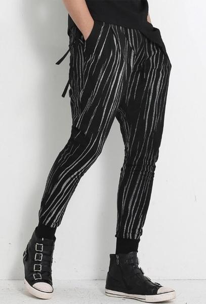 FINDSENSE MD 韓國 男 街頭 時尚 暗黑 絲滑面料 斑馬紋 顯瘦 潮