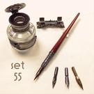 義大利 Bortoletti set55 沾水筆+筆擱+白銅墨水瓶+筆尖 組合 21501168457943 / 組