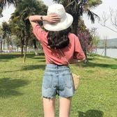 正韓百搭割破洞撕邊流蘇高腰闊腿熱褲牛仔短褲女裝潮