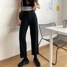 黑色牛仔褲女2020新款韓版高腰顯瘦寬鬆百搭復古港味寬管直筒長褲 【草莓妞妞】