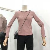 新款時尚女裝百搭套頭上衣女長袖條紋顯瘦氣質針織衫潮