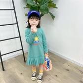 女童螺紋長袖百褶下擺連衣裙 長版上衣 長袖上衣 連身裙 女童 橘魔法 現貨 童裝