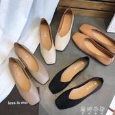 韓版春夏新款復古奶奶鞋淺口百搭平底單鞋女鞋方頭平跟豆豆鞋 歐韓流行館