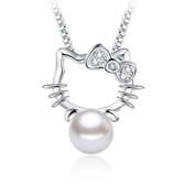 Kitty 貓女鍍銀飾項鍊 女士鋯石珍珠項鍊吊墜《小師妹》ps125