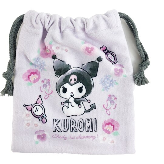 小禮堂 酷洛米 毛巾布束口袋 旅行收納袋 文具袋 小物袋 縮口袋 (紫 花圈) 4550337-65777
