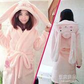卡通睡衣女秋冬新款大碼法蘭絨睡袍珊瑚絨浴袍可愛情侶家居服加厚  原本良品