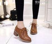 馬丁靴  馬丁靴女短靴女鞋高跟靴子百搭韓版學生粗跟小皮鞋潮 育心小賣館