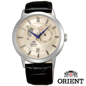 ORIENT 東方錶 經典日月相皮帶機械錶x42mm米白 藍針 FET0P003W 藍寶石水晶鏡面 公司貨