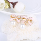 【NiNi Me】夾式耳環 粉色蝴蝶結珍珠無耳洞夾式耳環 夾式耳環 N9016