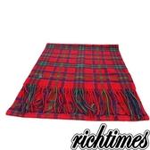 【裕代 Vivienne Westwood 】格紋羊毛保暖圍巾(紅底藍綠格)VW3C3631