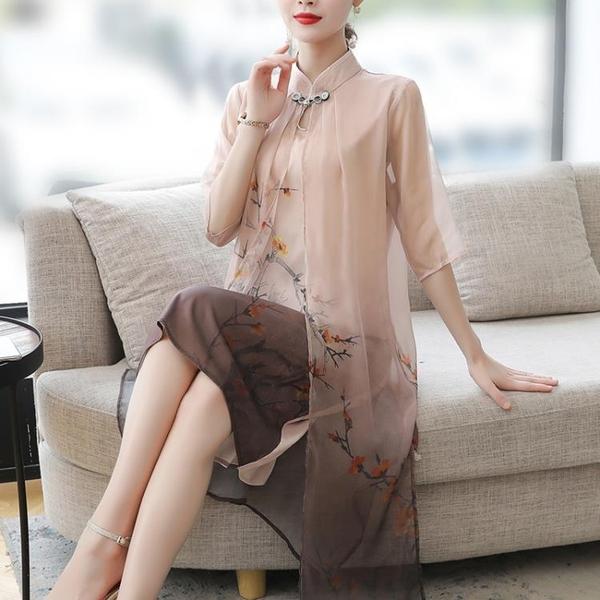 媽媽裙子40歲女裝高貴2021夏裝新款洋氣春秋中老年雪紡氣質洋裝 幸福第一站