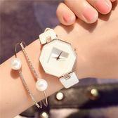手錶女機械錶防水八角形皮質方形電子錶時尚正韓簡約小清新石英錶WY【新年交換禮物降價】