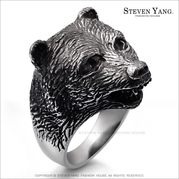 鋼戒指 西德鋼飾「黑熊咆哮」送刻字 嘻哈個性潮流