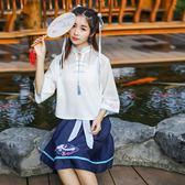 中大尺碼 漢服女古裝改良中國風套裝學生立領齊腰襦裙古風日常裝漢元素春夏 st1843『伊人雅舍』