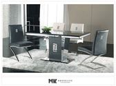 【MK億騰傢俱】CS926-1L馬汀尼5尺黑晶石原石餐桌椅組(桌*1、椅*4)