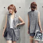 春秋新款韓版女裝亞麻無袖西裝 短褲兩件套 休閒夏季薄款背心套裝「時尚彩虹屋」