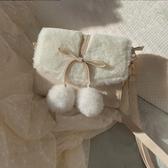 冬季仙女毛球包蝴蝶結毛毛包單肩斜挎小方包女【免運】