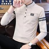2018秋季新款男士長袖t恤翻領polo衫男韓版潮流襯衫領體恤上衣服