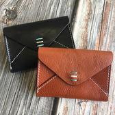 【Solomon 原創設計皮件】真皮釦式名片夾 刺繡信封式零錢包