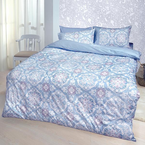 【FITNESS】精梳棉單人三件式被套床包組-尊爵貴族(藍)_TRP多利寶