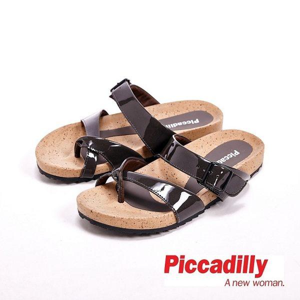 Piccadilly 交叉設計平底夾腳拖鞋女鞋 灰(另有白、藍)