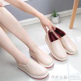 時尚雨鞋女戶外防滑廚房防水鞋學生低筒護士工作短筒平底加絨膠鞋 ◣怦然心動◥