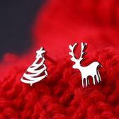 耳環 925純銀-麋鹿聖誕樹生日情人節禮物女飾品73gk101[時尚巴黎]