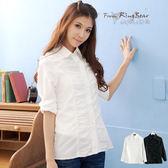 襯衫--俐落的時尚-抓皺設計素面款長袖襯衫(白.黑.黃S-3L)-I49眼圈熊中大尺碼★