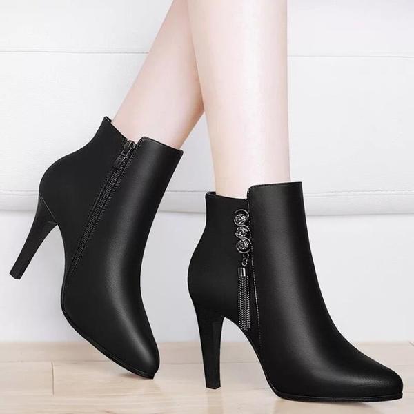 2020秋冬女靴子英倫時尚短靴圓頭側拉錬高跟鞋細跟百搭婚鞋女鞋子 童趣