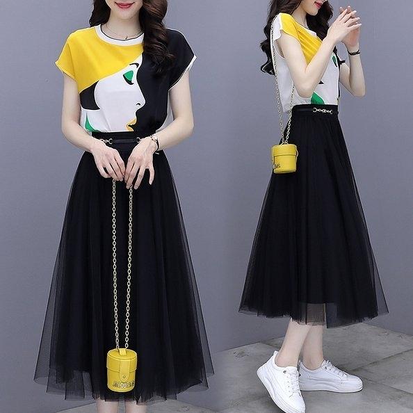 套裝裙 上衣 網紗裙S-2XL絲印花襯衫網紗半身裙時尚兩件套裝裙H430.9760胖胖唯依