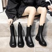 中筒靴 中筒馬丁靴女2021年新款秋冬英倫風短靴增高切爾西靴厚底煙筒靴子 智慧e家 新品